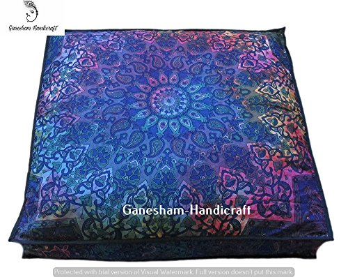 GANESHAM Handicraft -Indian Tapestry Dog or Cat Bed, Boho Decor Kids Bedding Mandala Meditation Cushion Boho Seating Living Room Decor Mandala Cushion Cover, Boho Floor Pillow, Bohemian
