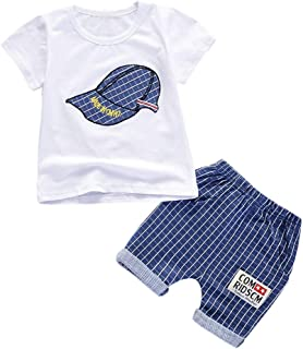 Remanlly Toddler Kids Baby Boys Outfits Clothes Cap Print T-shirt Top+ Plaid Shorts Set Outfits Sets summer fashion kids b...