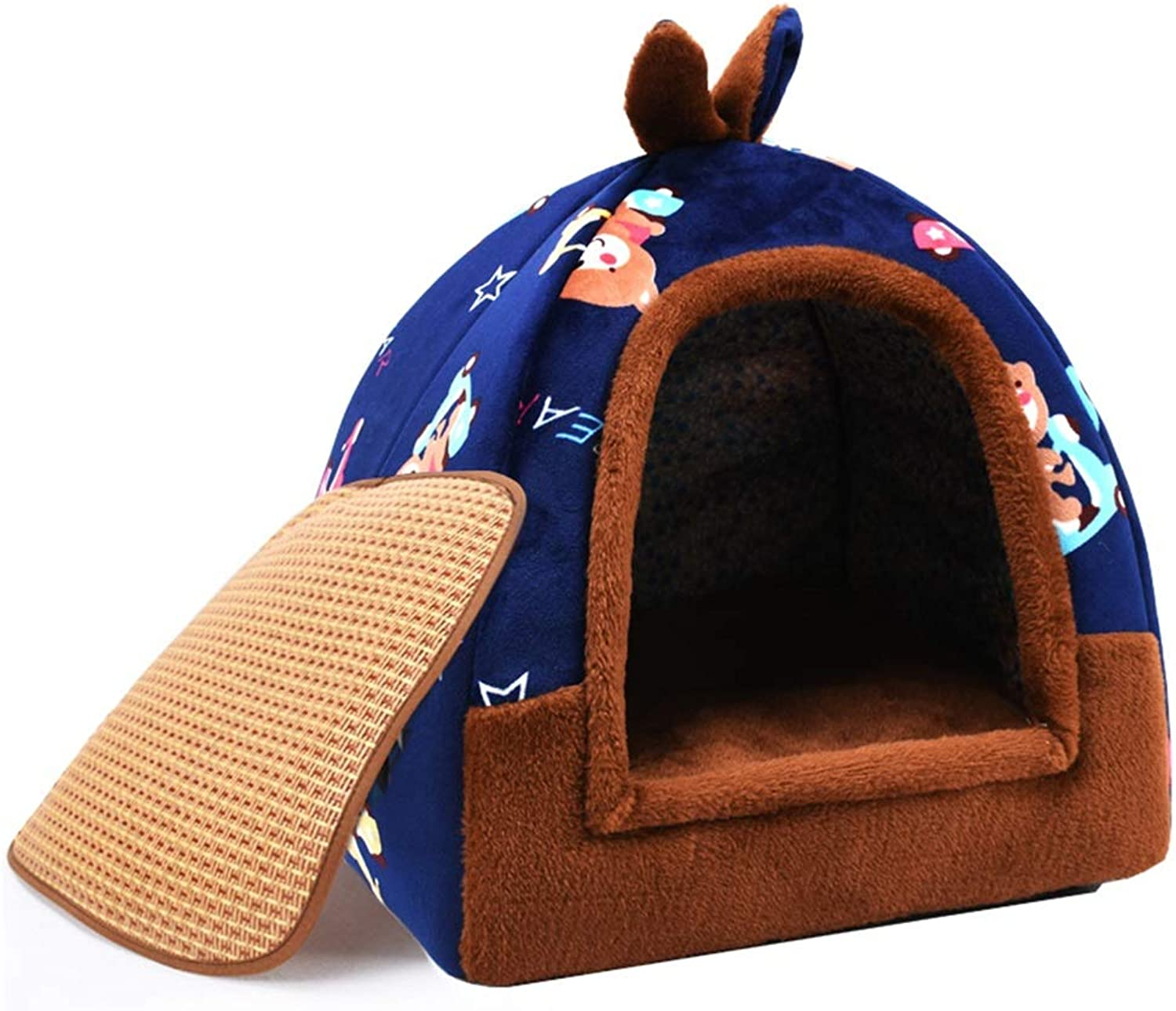 Ryan Pet Nest, Cat Kitten Puppy Dog Soft Kennel Yurt Winter Dualuse Removable And Washable Pet House Cave Nest Bed Basket (color   4, Size   S)