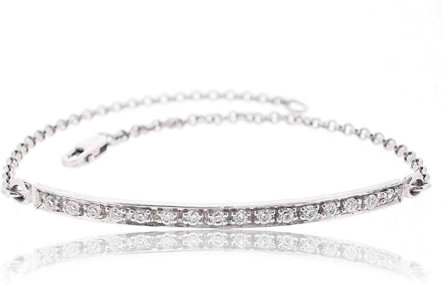 Sovats Bar Chain Bracelet For Women Set With White Cubic Zirconia 925 Sterling Silver Rhodium Plated  Simple, Stylish &Trendy Nickel Free Bracelet