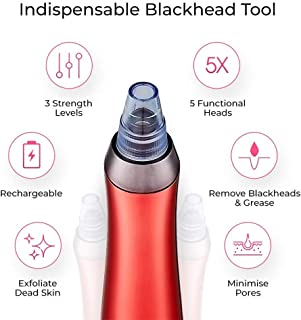 LITTLE TREE-AU Blackhead Suction Tool Electric Facial Pore Cleanser 3 Level Adjustable Extractor Kit USB Rechargeable Smooth Wrinkles and Tighten Skin for Facial Skin (Red)