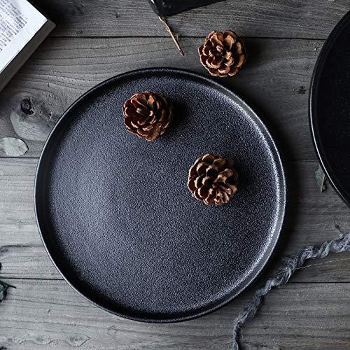 HUAHUA Bowls Keramische Tableware_Ceramic Steak plaat fruitschaal Teppanyaki Pasta Sushi Western Plate 10 Black Matte Plate, Zwart, 27cm