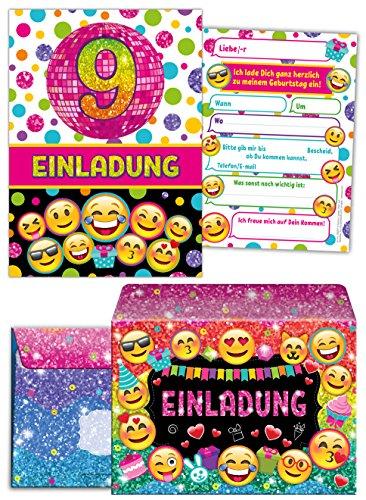 JuNa-Experten 12 Einladungskarten incl. 12 Umschläge zum 9. Kindergeburtstag für Mädchen / Einladung neunte Geburtstag / Einladungen zum Geburtstag / Kartenset für Kindergeburtstag / Glitzer