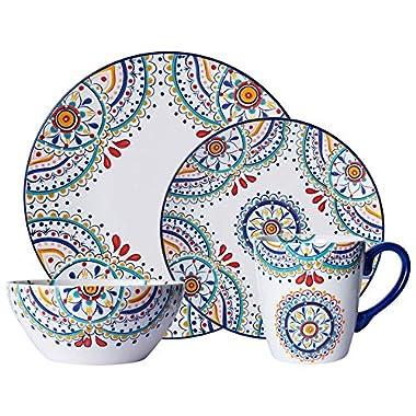 Pfaltzgraff 5229621 Delano 16-Piece Porcelain Dinnerware Set, Multi-Color