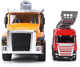 Trailer Truck Toys, Highly Simulation Pull Back Vehicle Model Rescue Car Vehicle Toy with Light Sound Effect Gift for Kids...