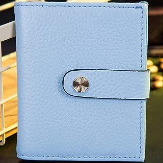 Leather Women's Wallet Cowhide Short Women's Wallet Multicolor Wallet Coin Purse Small Wallet RFID Waterproof (Color : Blue, Size : S)