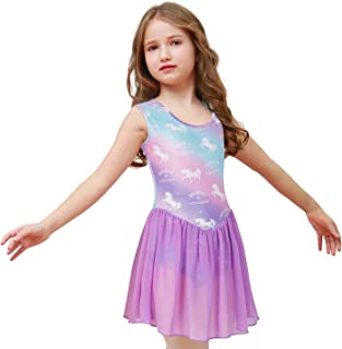 Nidoul Gymnastics Leotards Dress for Toddler/Girls Sparkly Unicorn Rainbow Skirted Dance Ballet Dress