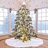 UHAPEER Faldas Arbol Navidad Felpa de Decoración, Ornamentos Vacaciones Chrismas Parte, Blanco (150cm)