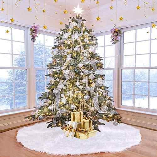UHAPEER Peluche Albero di Natale Tree Gonne Vacanza Ornaments Chrismas Festa Decorazione Capodanno Bianca (150cm)