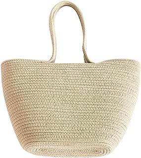 Reepow Woven Bag for Women Cotton Rope Handbag Beach Drawstring Shoulder Bag Gift for Lover, Light Brown