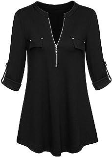 Shusuen Women's Zip Front V-Neck 3/4 Sleeve Tunic Casual Top