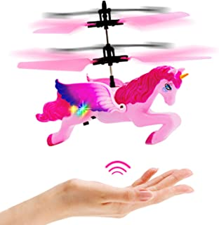 Flying Unicorn Toys Gifts for Girls 8-15 Years Old,Pink Mini RC and Hand Controlled Flying Helicopter Unicorn Fairy Toy Doll for Birthday