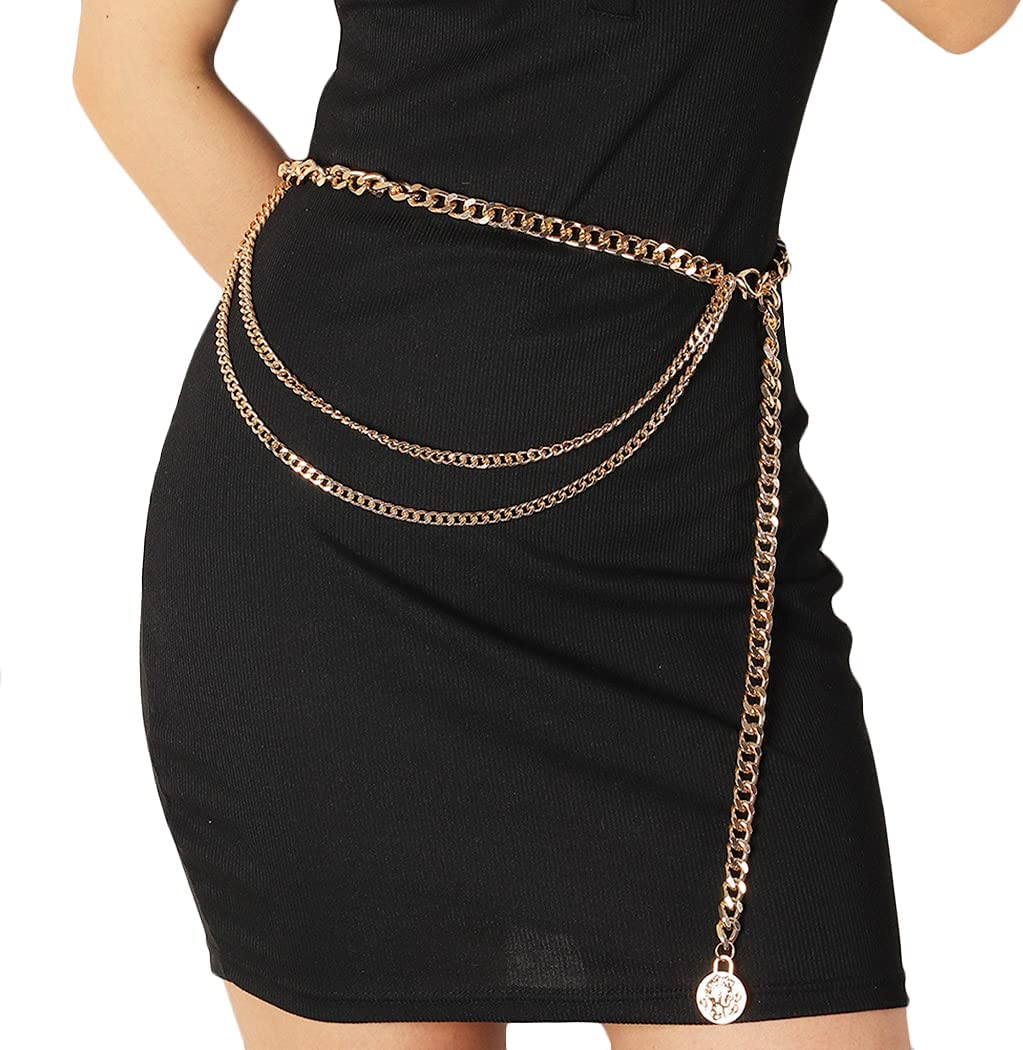 COSYOO Lightweight Party Lady Cute Charm Waist Chain Layered Fashion Decorative Elegant Vintage Belly Chain Body Chain for Women