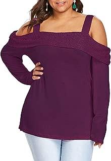 GAOXINGQU Women's Plus Size Long Sleeve Lace Crochet Off Shoulder T-shirt (Color : Purple, Size : 5XL)