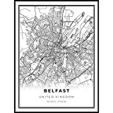 A SOPHISTICATED BLACK AND WHITE MAP OF BELFAST. This print looks gorgeous when framed on a wall and is suited to both modern and classical homes. PRINTED ON 175 GSM FINE ART PAPER. Museum-quality poster made on thick, durable, matte paper. MADE TO OR...