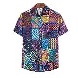 Jinyuan Camisa Hawaiana de Verano de Gran tamaño Hombres Moda Impreso Manga Corta Suelta Botones Casuales Camisa Hip Hop Camisa de Hombre M-5XL