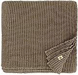 Linen und Cotton Plaid Decke Sommer Tagesdecke Waffelpique Enzo - 48prozent Leinen, 52prozent Baumwolle, Taupe (180 x 230 cm) Blanket Bedspread Überwurf Bett Überwurfdecke Bettüberwurf Bettbezug Bettwäsche