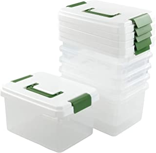 Kiddream Set of 6 Plastic Container Bins with Lids, 4.5 Liter Clear Latch Boxes