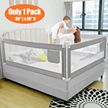 """SURPCOS Bed Rails for Toddlers - 60"""" 70"""" 80"""" Extra Long Baby Bed Rail Guard for Kids Twin, Double, Full Size Queen & King Mattress (Bucks, 1Side:60"""
