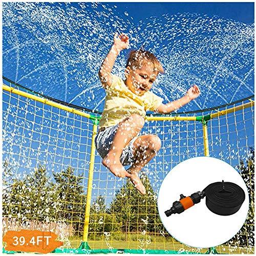 TTlove Trampoline Sprinkler Waterpark for Kids, Outdoor Water Play Trampoline Sprinkler System Hose for Kids Water Park Summer Water Party Games(Green,15m)
