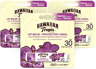Hawaiian Tropic Lip Balm - Protector Solar Labial SPF 30 Sabor Tropical - Pack 3 Unidades
