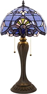 Blue Purple Baroque Tiffany Style Table Lamps Lighting W12H22 Inch Lavender Stained Glass Lampshade Antique Base for Living Room Bedroom Bedside Desk Lamp S003C WERFACTORY