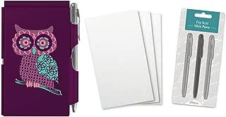Wellspring Flip Note Notepad Set: Purple Owl Flip Note, 3 Flip Note Refill Pads and a 3 Mini Pen Refill
