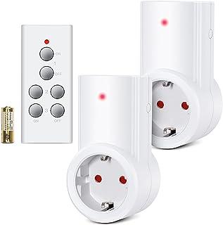 Etekcity Enchufes Inalámbricos Inteligentes con Mando a Distancia con Control Remoto Interruptores a Distancia, Blanco (Código de Aprendizaje, 2Rx-1Tx)
