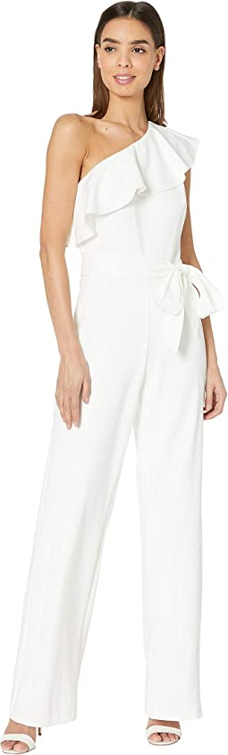 75391155adf Adrianna papell one shoulder jumpsuit with bow detail