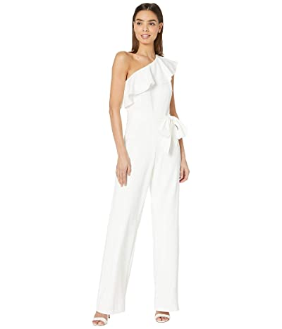 Adrianna Papell Knit Crepe One Shoulder Ruffle Jumpsuit (Ivory) Women