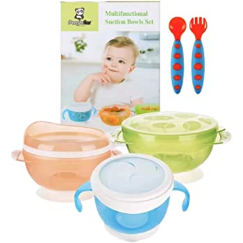 PandaEar Improved Suction Bowls for Toddlers Babies Infants   Stay Put Solid Feeding 3 Sizes  Spoon and Fork Airtight Lids Spill Proof  to-Go Snacks Storage Gift Set Chemical BPA Free