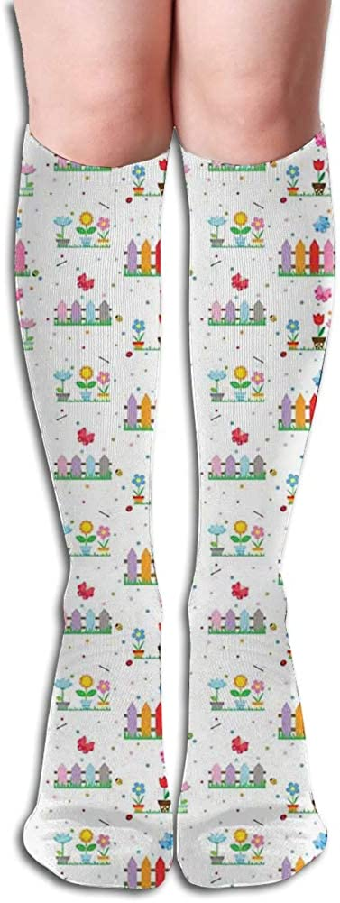 Men's and Women's Funny Casual Combed Cotton Socks,Hand Drawn Style Colorful Bedding Plants Roses and Wildflowers with Little Dots (4)