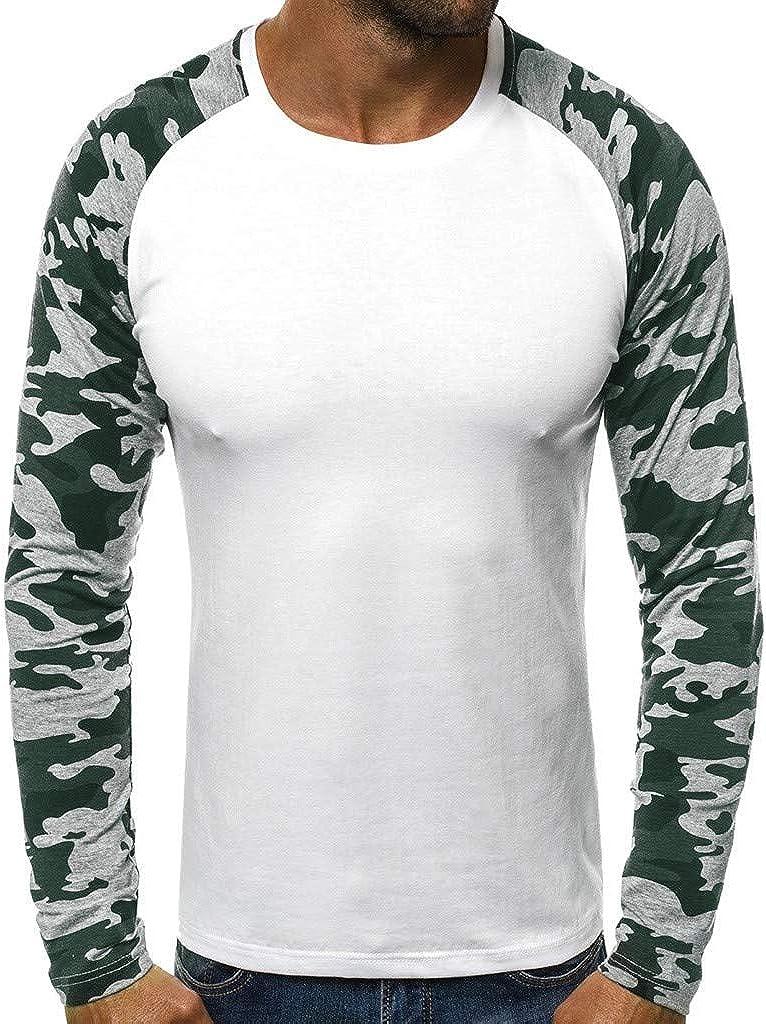 FORUU Fashion Men's T Shirt,Autumn Winter Camouflage Patchwork Comfy Shirt Trendy Casual Slim Long Sleeve O Neck Tops