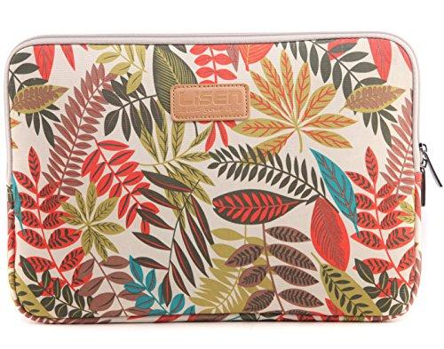 BSLVWG 10-15 Zoll Wald-Serie-Muster Wasserdicht Segeltuch Laptop-Hülle zum 13,3 Zoll Laptop Fall kompatibel mit MacBook Air 13 Hülle MacBook Pro 13 Hülle ipad 12.9 (15.6 Zoll, Khaki Bunte Blätter)