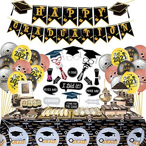 JoyBo Festa di Laurea Decorazioni,Addobbi Laurea,laurea Banner,Grad palloncini,tovaglia,Photo Booth Oggetti di Scena,Utilizzato per decorare un'indimenticabile cerimonia di laurea