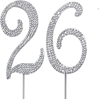 """MAGJUCHE Silver 26"""" Crystal Cake Topper, Number 26 Rhinestones 26th Birthday Cake Topper, Men or Women Birthday or 26th An..."""