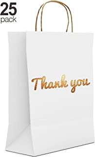 White Thank You Gift Bags - 25 Luxury Pack - 10.5