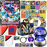 Totem World Premium Collection Ultra Rare with 100 Pokemon Cards - 65ct Elite Trainer Sleeves - Deck Box - Binder - 3D Crystal Ball LED Night Light & Keychain Inside a Storage Collector Chest Tin