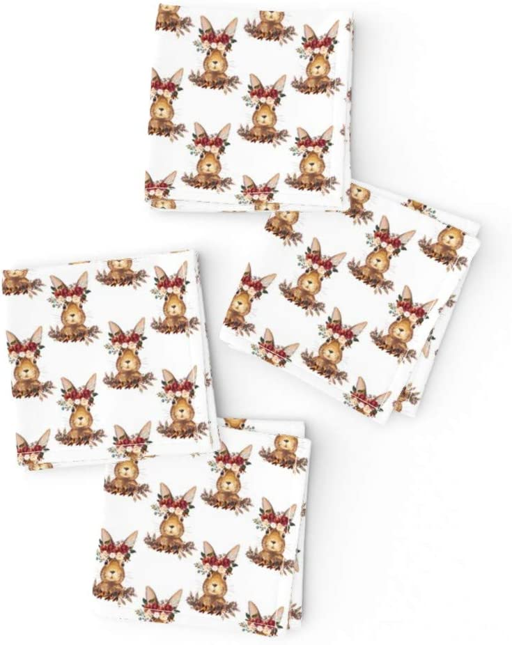 Roostery Spoonflower Lowest price challenge Cloth Cocktail Napkins Bunny Flowers Save money White