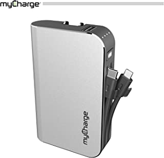 myCharge HubPlus-C Portable Charger 6700mAh Power Bank, USB-A Port with Qualcomm Quick Charge 3.0, Integrated Micro-USB & USB-C Cables, Foldable Wall Plug (Not Compatible with Apple Devices)