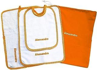 Crociedelizie, Set asilo scuola materna 4 pezzi tovaglietta bavaglino sacca asciugamano salvietta ricamo nome bimbo person...