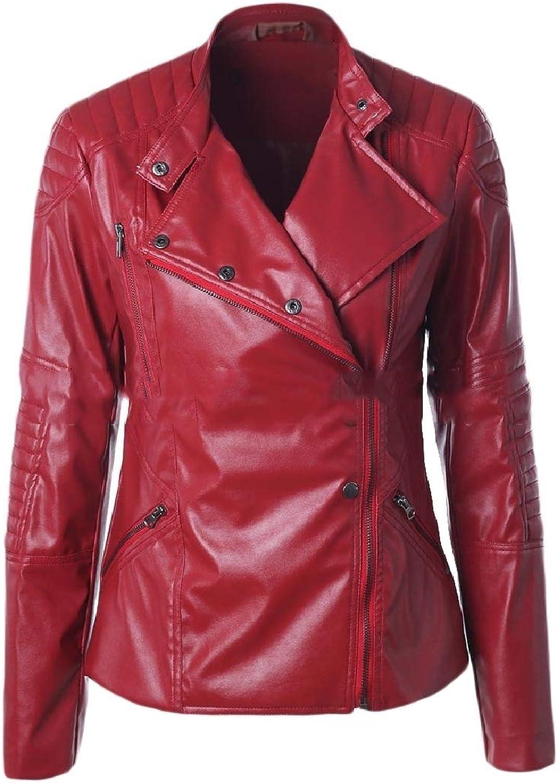Doanpa Women's Side Zip Windproof Standup Collar Faux Leather Jackets