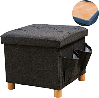 WALTSOM Folding Storage Ottoman, Cube Footrest Seat Stool Coffee Table with Woode Feet, Side Pockets, Double Sides Lid, Soft Padding for Home and Office, 15