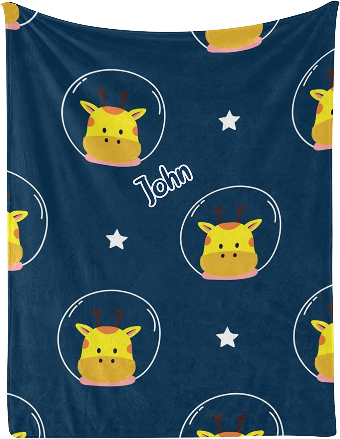 Cute Space Giraffe Star Personalized Baby Popular standard Blankets Name with New sales 30x