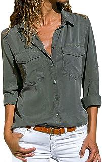 VESNIBA Women's Tops, Solid Long Sleeve Turn Down Collar Pockets Button Front Shirt