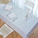 QKEMM Tischdecke aus Kunststoff Premium Rechteckige wasserdichte Baumwolle und Leinen Einfach Modern Tischabdeckung Gartentischdecke Graues Dreieck 110 × 110 cm