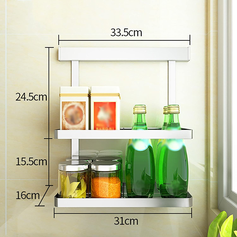 Yxsd No Drilling 304 Stainless Steel Kitchen Racks Wall Hanging Storage Organize Shelf (Size   D)