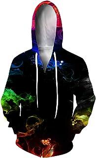 Idgreatim Unisex 3D Printed Zip Up Hoodie Long Sleeve Hooded Pullover Sweatshirt Jacket