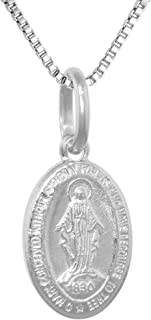 Very Tiny Sterling Silver Miraculous Medal Necklace Oval Virgin Mary Italy 1/2 inch 0.8mm Chain