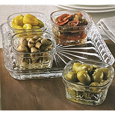 Beautiful Appetizer Relish Serving Tray with 4 Glass Condiment Bowls, Can Hold Snack, Dried Fruits, Dips, Nuts, Candies, and More.